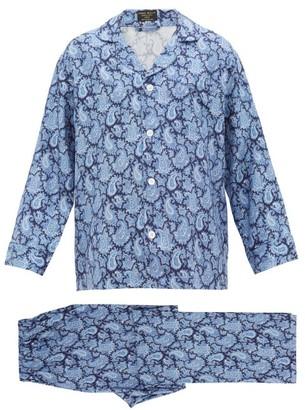 Emma Willis Paisley-print Silk-twill Pyjama Set - Mens - Navy