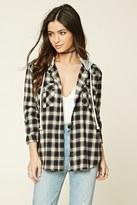 Forever 21 Hooded Flannel Shirt