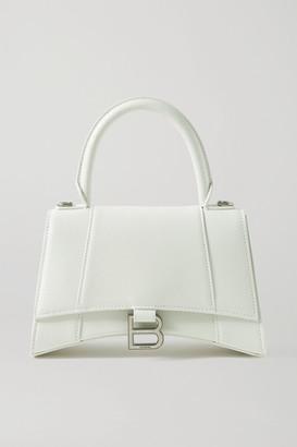 Balenciaga Hourglass Small Textured-leather Tote - White