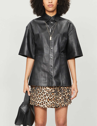 The Kooples Leopard-print crepe asymmetric skirt