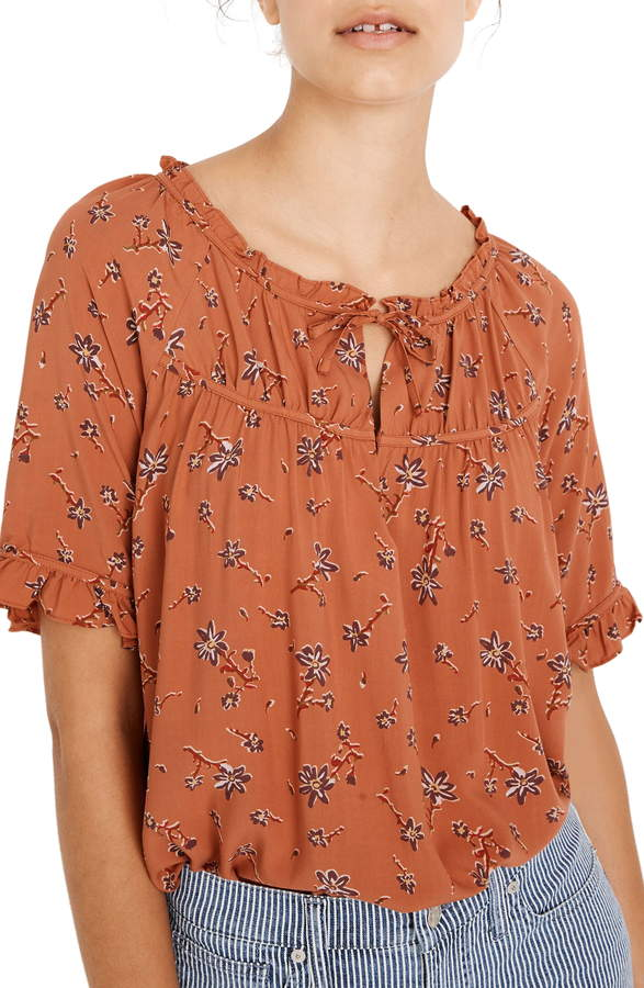 Madewell Tie-Neck Peasant Top in Ginger Floral