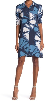 MSK Tie Dye Puff Sleeve Shirt Dress