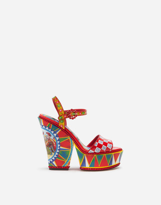Dolce & Gabbana Patent Leather Sandals With Wedge Heel And Sicilian Carretto Print