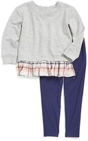Splendid Toddler Girl's Plaid Ruffle Sweatshirt & Leggings Set