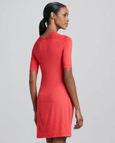 Three Dots Faux-Wrap Half-Sleeve Dress