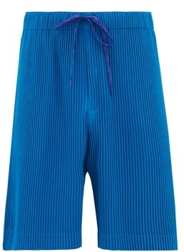 Homme Plissé Issey Miyake Drawstring-waist Technical Pleated-jersey Shorts - Mens - Blue