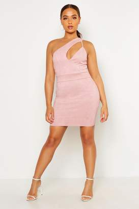 boohoo One Shoulder Suedette Cut Out Bodycon Dress
