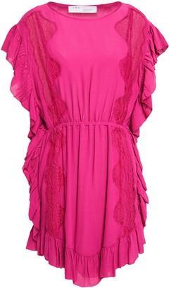 IRO Lace-trimmed Gathered Crepe Mini Dress
