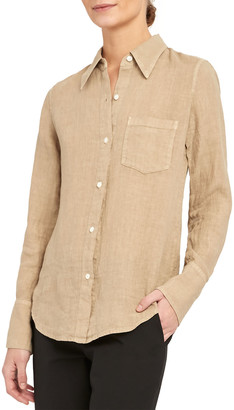 Theory Slim Collar Button-Down Linen Shirt