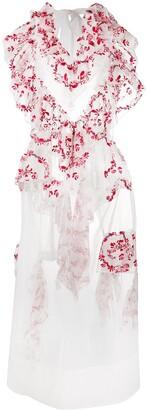 Simone Rocha Ruffle-Trimmed Embroidered Midi Dress