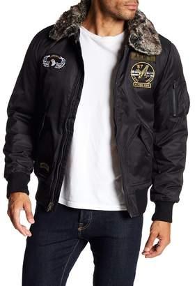 X-Ray XRAY Faux Fur Trim Patch Embellished Flight Jacket
