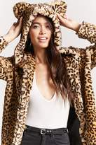 Forever 21 Leopard Faux Fur Hooded Coat