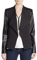 Calvin Klein Faux Leather-Sleeve Ponte Knit Jacket