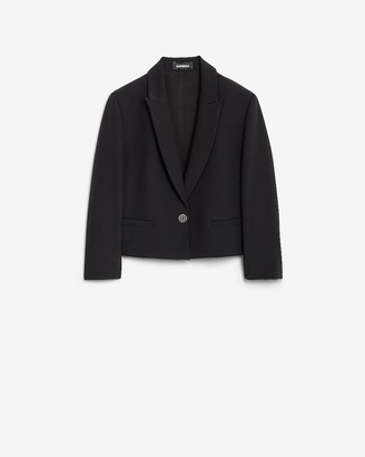 Express Cropped One Button Long Sleeve Blazer
