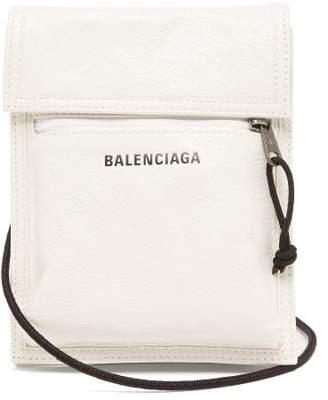Balenciaga Explorer Cracked-leather Cross-body Bag - Mens - White