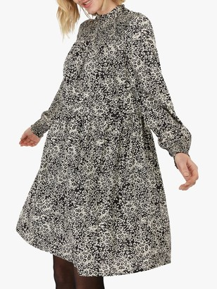Monsoon Alessia Floral Smock Dress, Black