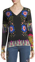 Etro Floral-Print V-Neck Sweater