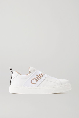 Chloé Lauren Logo-embroidered Leather Sneakers - White
