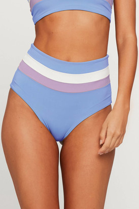 L-Space Portia Stripe Periwinkle High Waist Bikini Bottom Periwinkle S