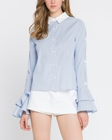 Express English Factory Striped Tiered Sleeve Button-Up Shirt
