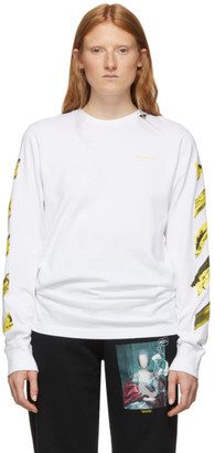 Off-White SSENSE Exclusive White and Yellow Painted Arrows Long Sleeve T-Shirt