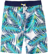 Crazy 8 Blue & White Palm Leaf Boardshorts - Boys