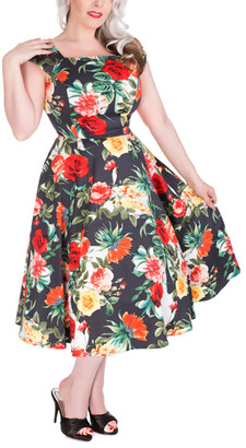 Hearts & Roses London HEARTS & ROSES LONDON Women's Special Occasion Dresses Blue - Navy & Red Rose Square-Neck Swing Dress - Women