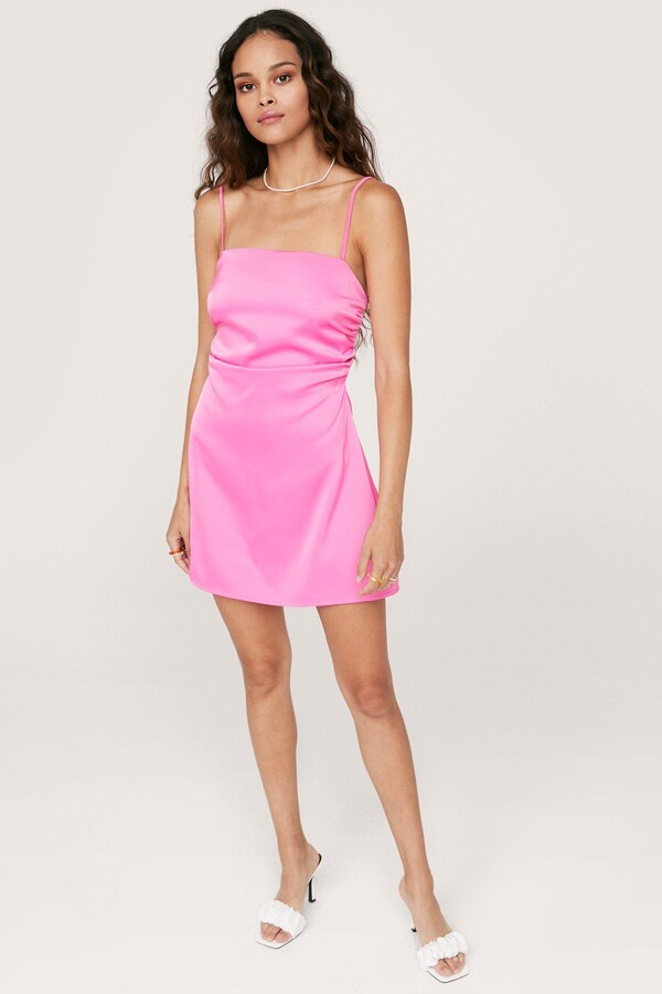 Thumbnail for your product : Nasty Gal Womens Lace Up Back Satin Cami Mini Dress