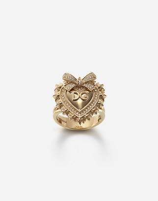 Dolce & Gabbana Devotion Ring In Yellow Gold With Diamonds