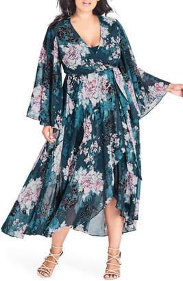 City Chic Jade Blossom Wrap Maxi Dress