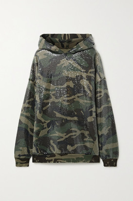R 13 Sequined Distressed Camouflage-print Cotton And Lyocell-blend Hoodie - Green