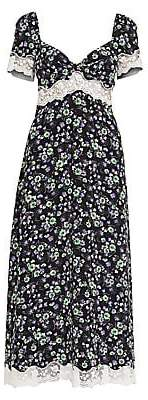 Miu Miu Women's St. Bouquet Marocain Floral Smock Midi Dress