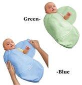 Summer Infant Kiddopotamus Cotton Knit SwaddleMe Adjustable Infant Wrap Pack Combo Blue Gre...