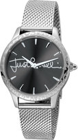 Just Cavalli 34mm Logo Stainless Steel Bracelet Watch w/ Leopard Bezel, Black
