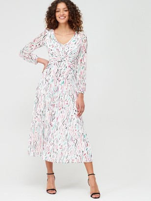 Very Ruched Front Pleat Skirt Midi Dress - Print