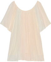Mes Demoiselles Rosace Gathered Cotton-gauze Blouse - Pastel pink