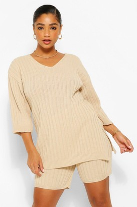 boohoo Plus Side Split Knitted Co-Ord