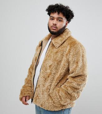 ASOS DESIGN Plus faux fur western jacket in brown