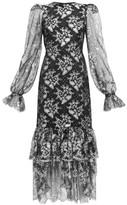 The Vampire's Wife The Lace Night Bird Layered-skirt Silk Dress - Womens - Black Silver