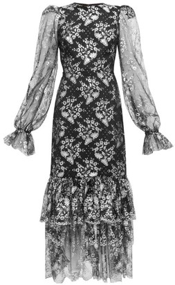 The Vampire's Wife The Lace Night Bird Layered-skirt Silk Dress - Womens - Black Silver