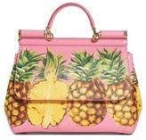 Dolce & Gabbana Miss Sicily Pineapple Leather Satchel - Pink