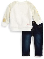 Hudson Infant Girl's Fleece Sweatshirt & Jeans Set