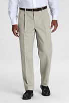 Classic Men's Long Pre-hemmed Pleat Front Comfort Waist No Iron Chino Pants-Black