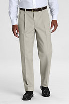 Classic Men's Long Pre-hemmed Pleat Front Comfort Waist No Iron Chino Pants-Charcoal Heather