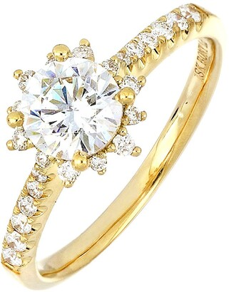 Bony Levy Pave Diamond & Cubic Zirconia Vintage Solitaire Engagement Ring
