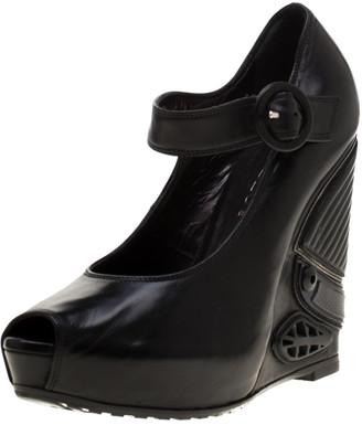 Loriblu Black Leather Wedge Peep Toe Mary Jane Pumps Size 36