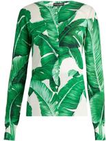Dolce & Gabbana Banana leaf-print silk cardigan