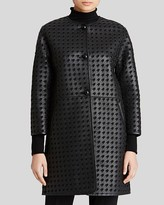 Armani Collezioni Coat - Houndstooth Cutout Leather