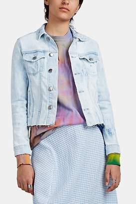 Frame Women's Marbled-Dyed Denim Trucker Jacket - Blue