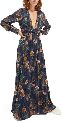 Scotch & Soda Metallic Floral Jacquard Plunge Neck Long Sleeve Gown